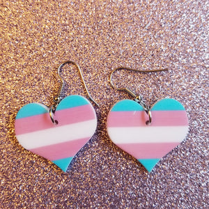 Rainbow Support LGBTQ Transgender Heart Lightweight Earrings Jewelry