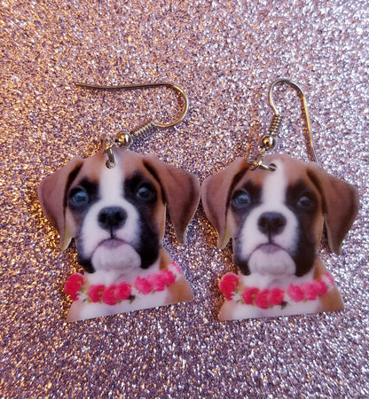 Boxer Puppy Dog lightweight earrings jewelry