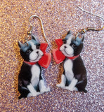 Boston Terrier Puppy Dog Lightweight Earrings Jewelry