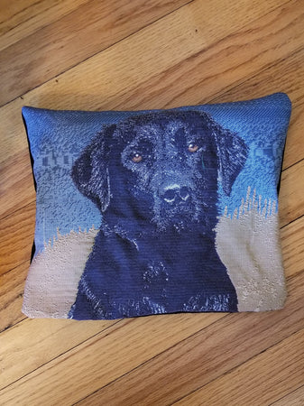 Black Labrador Retriever Dog Tapestry Pillow