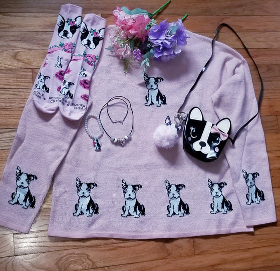 Boston Terrier Dog Ladies Pink Puppy Sweater