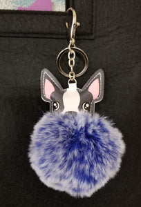 Boston Terrier Dog Keychain Key Fob Purse Charm With Pom Pom