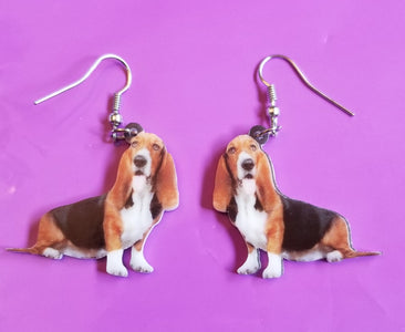 Basset Hound Dog Lightweight Earrings Jewelry