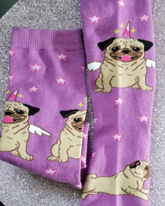 Pug Dog Ladies Novelty Socks, The Unicorn