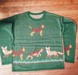 Border Terrier Dog and Fox Ladies Sweater