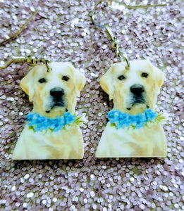 Yellow Labrador with Flowers Retriever Dog Lightweight Earrings Jewelry