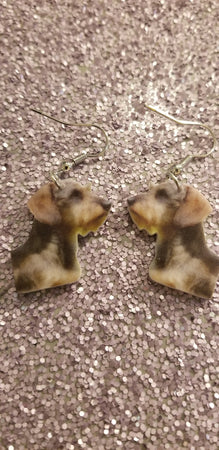 Wire haired Dachshund Doxie Dog Lightweight Earrings