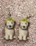 Soft Coated Wheaten Terrier Dog Lightweight Earrings Jewelry