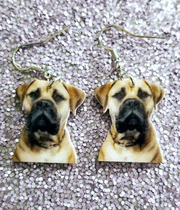 English Mastiff  Bullmastiff Dog Lightweight Earrings Jewelry