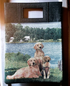 Golden Retriever Dog and Puppy Lakeside Handbag Purse Computer Bag
