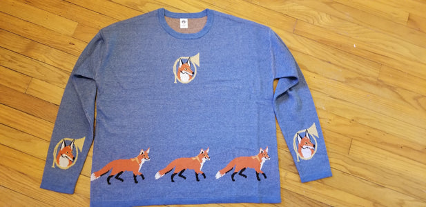 Red Fox Wildlife With Hunting Horn Ladies Knit Sweater