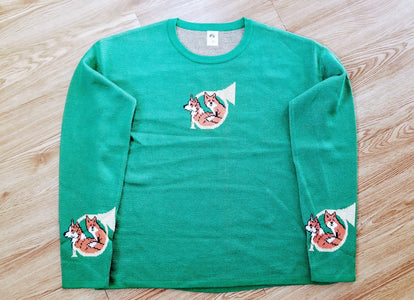 Pembroke  Welsh Corgi Dog and Fox and Hunting Horn Ladies Sweater
