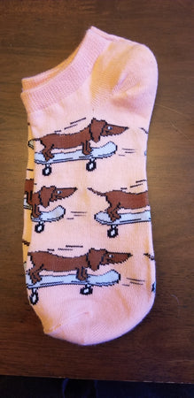 Dachshund Doxie Skateboarding Dog Breed Blue Ankle Ladies Novelty Socks