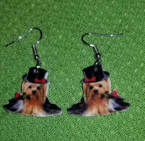 Yorkshire Yorkie Terrier Dog Design Lightweight Earrings Jewelry
