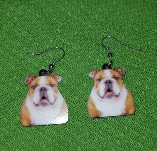 English Bulldog Dog Lightweight Earrings Jewelry