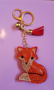 Red Fox, Sheep, Pig, Cow Crystal Rhinestone Keychain Key Fob Purse Backpack Charm