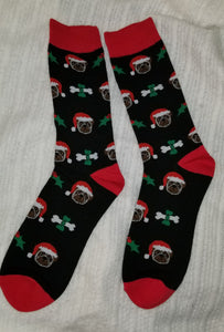 Pug Dog Santa Claus Holiday Christmas Ladies Novelty Socks