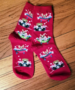 Splish Splash Let's Take a Bath Dog Groomer Socks