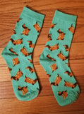 Dachshund Doxie Hotdog Dog with Mustard Ladies Novelty Crew Socks
