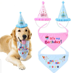 Happy Birthday to Puppy Dog! Party Hat and Bandana Set Pink or Blue