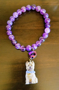 Cairn Terrier Dog Purple Heart Crystal Bead Bracelet