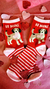 Beagle Hound Dog Ladies Valentine's Day Heart Socks