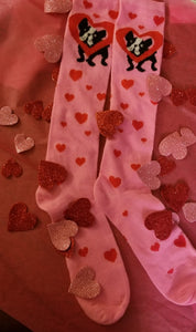 Boston Terrier French Bulldog Ladies Valentine's Day Heart Socks