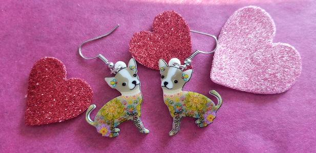 Flower Power Chihuahua Dog lightweight Earrings Jewelry