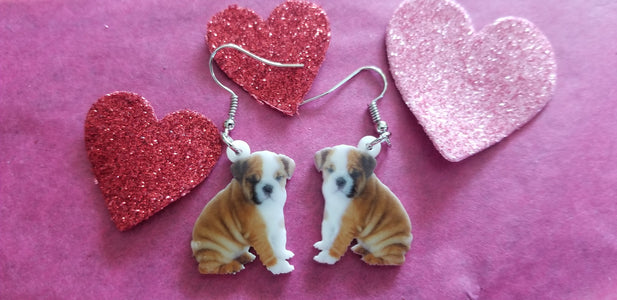 Baby English Bulldog Dog Lightweight Earrings Jewelry