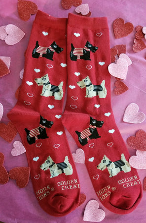 Love my Scottie Scottish Terrier Dog Breed Ladies Red Novelty Socks