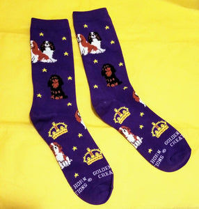 Royal Cavalier King Charles Dog Crown Ladies Novelty Socks