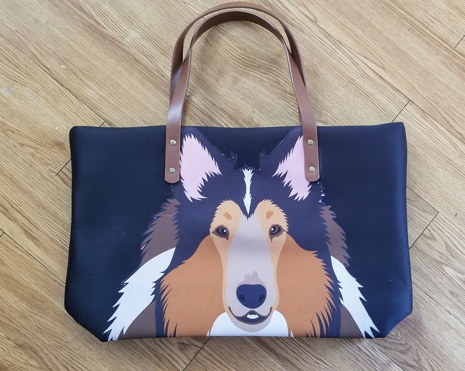 Large Ladies Collie Shetland Sheepdog Sheltie Purse Handbag