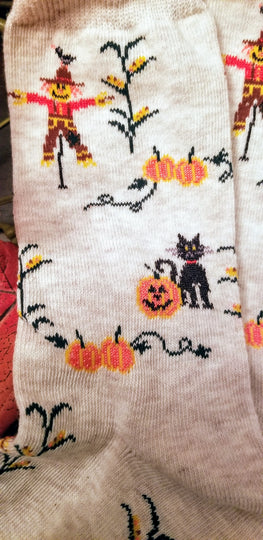 Fall in love with these Autumn Scarecrow and Black Cat Ladies Socks