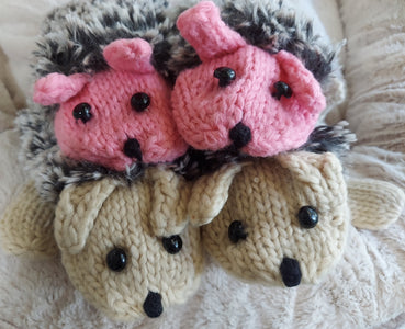 Hot Pink or Beige Cute Hedgehog  Animal Ladies Children Mittens