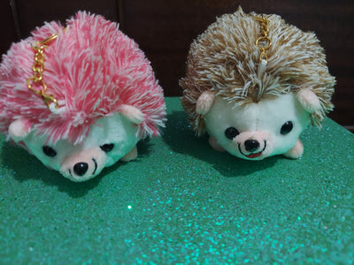 Cute Hedgehog Keychain Key Fob Purse Charm pink or beige