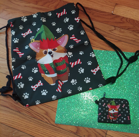 Christmas Pembroke Welsh Corgi Elf Dog Coin Purse and Backpack Bag
