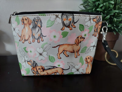 Smooth Black and Tan & Red Dachshund Doxie Dog Makeup Bag Clutch Purse