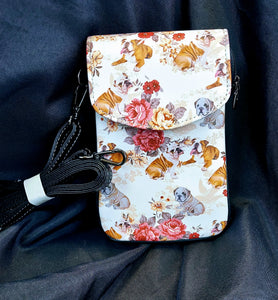 Floral BullDog Ladies Crossbody Purse Handbag