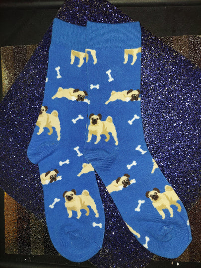 Blue Pug Dog and Bone Ladies Novelty Socks