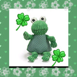 HuggleHounds Knottie Green Frog Large and Small Dog Toy, Plush Corduroy