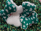 Irish Shamrock St. Patrick's Good Luck Clover Plush Dog Toy Bone Made in the USA
