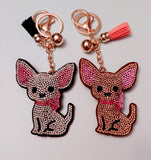 Chihuahua Crystal Rhinestone Dog Keychain, Key Fob or Purse or Backpack Charm 2 colors