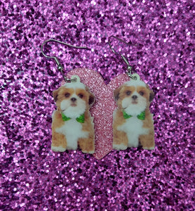 Gold and White Shih Tzu Dog with Puppy Teddy Bear Cut Lightweight Ladies Earrings Jewelry