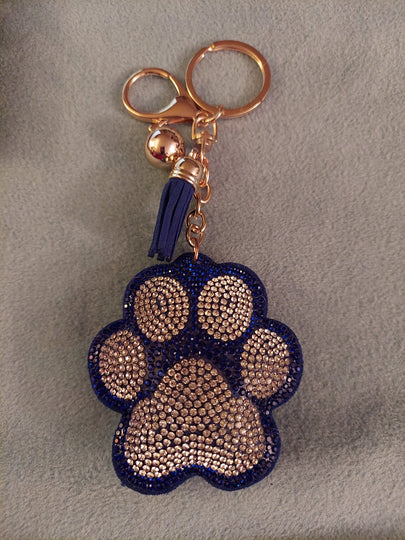 Paw Print Crystal Rhinestone Keychain, Key Fob Purse Backpack Charm