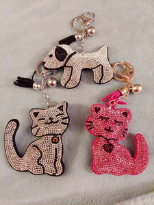 Kitty Cat & Puppy Dog Crystal Rhinestone Keychain, Key Fob Purse Backpack Charm