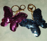 Reversible Sequin Papillion Butterfly Keychain Key Fob Purse Charm pink or blue