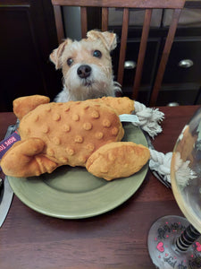 Dinner is Served Plush Stuffed Turkey Dog Toy with Rope Legs and Pumpkin Pie Squeaker.   A Thanksgiving Treat