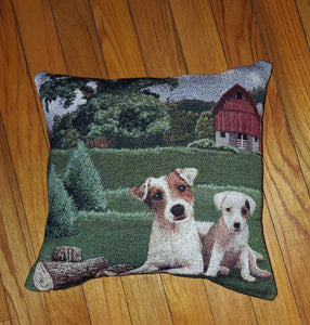 Tapestry Jack Russell Parson Terrier Dog Pillow