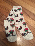 Yorkshire Terrier Yorkie Dog Yorkie  and Roses Ladies Socks