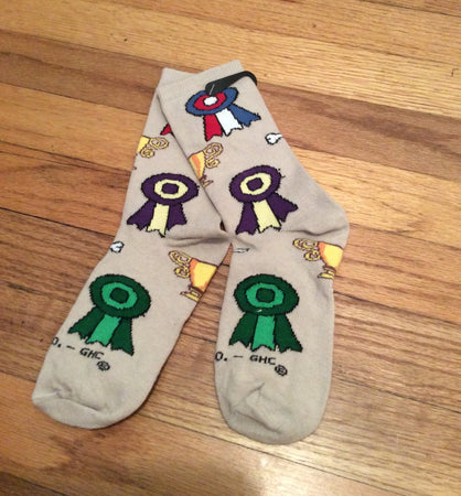 First place, Best of Breed, Best in Show, Obedience Ribbon Trophy Socks